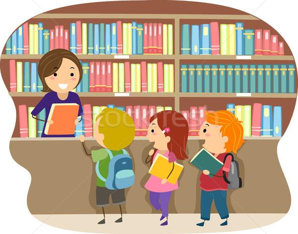 Gyerekek könyvtár illusztráció gyermek oktatás gyerek Stock fotó © lenm