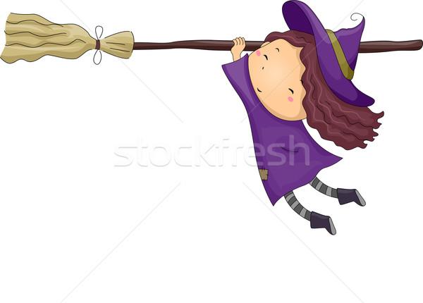 Bruxa menina cabo de vassoura halloween ilustração little girl Foto stock © lenm