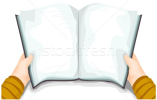 Handboek boek Open achtergrond onderwijs lezing Stockfoto © lenm