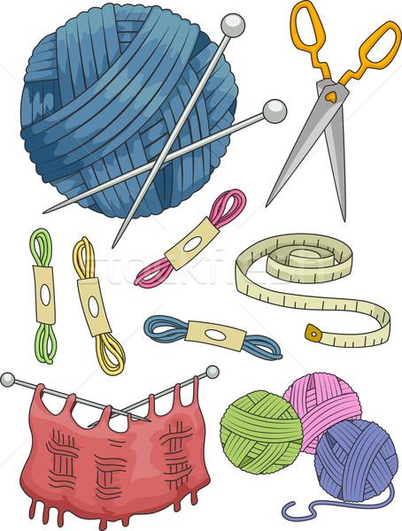 Knitting Elements Stock photo © lenm