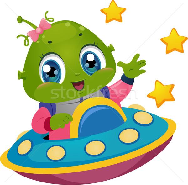 Alien Girl Spaceship Stock photo © lenm