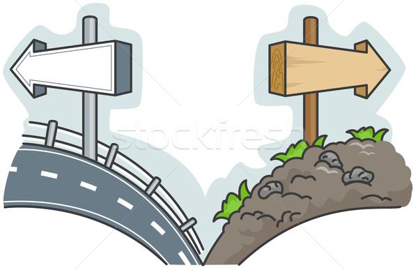 útkereszteződés illusztráció felajánlás választás út durva Stock fotó © lenm