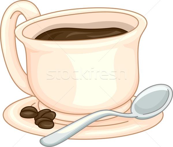 Beker koffie illustratie koffiebonen kant drinken Stockfoto © lenm