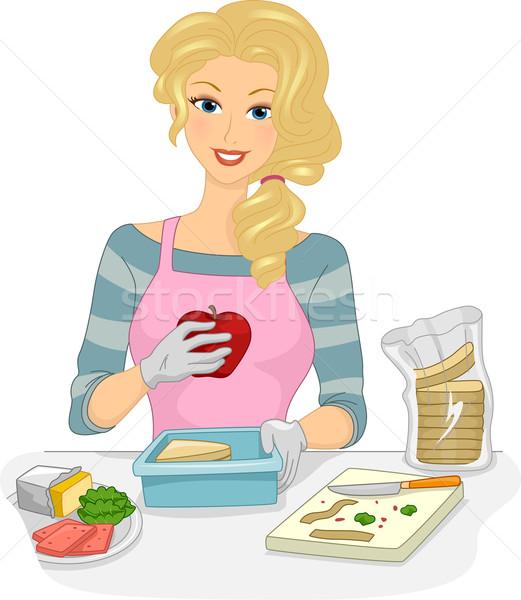 Ebéd doboz lány illusztráció nő egészséges Stock fotó © lenm