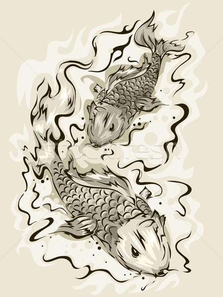 Koi hal illusztráció pár úszik fekete-fehér Stock fotó © lenm