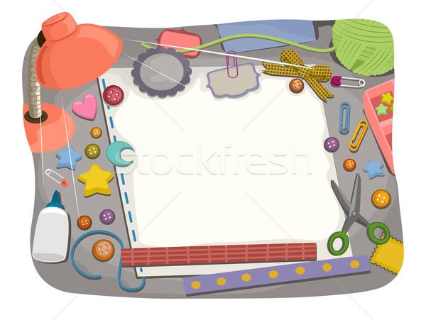 Bureau scrapbook bord illustration étude table Photo stock © lenm