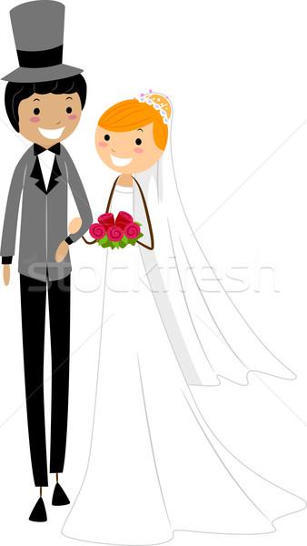Interracial Wedding Stock photo © lenm