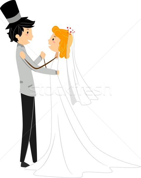 Hochzeit Tanz Illustration Frau asian Stock foto © lenm