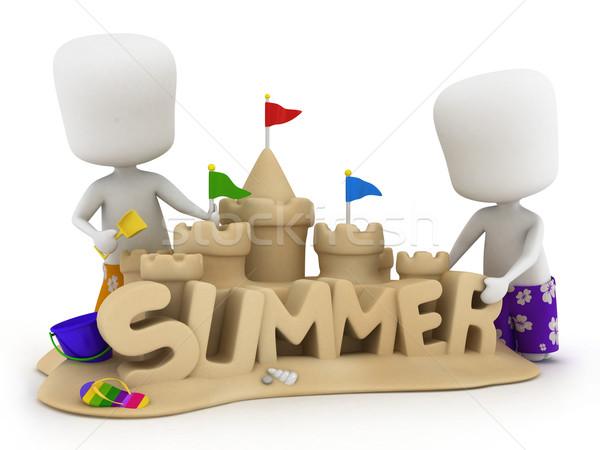 Homokvár 3d illusztráció férfiak készít nyár homok Stock fotó © lenm