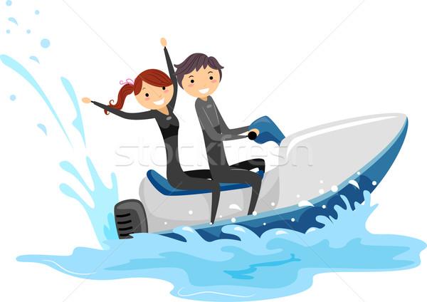 Jet ski pár illusztráció lovaglás együtt férfi Stock fotó © lenm