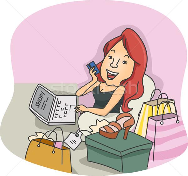 Online klant illustratie meisje online winkelen technologie Stockfoto © lenm