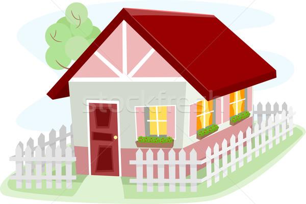 Bangalô ilustração cerca casa arquitetura Foto stock © lenm