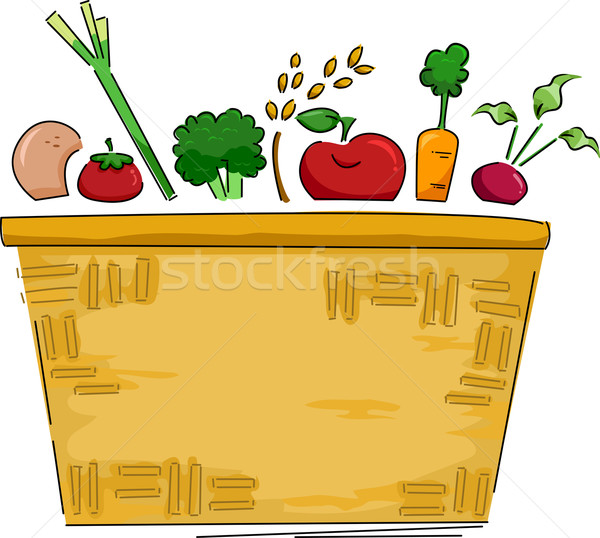Basket of Fruits and Vegetables Background Stock photo © lenm