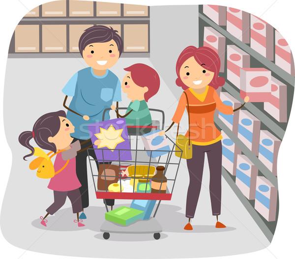 Család vásárlás élelmiszerbolt illusztráció gyerekek gyermek Stock fotó © lenm