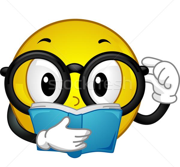 книжный червь иллюстрация очки чтение Сток-фото © lenm