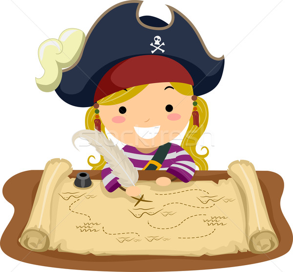Pirate Girl Map Stock photo © lenm