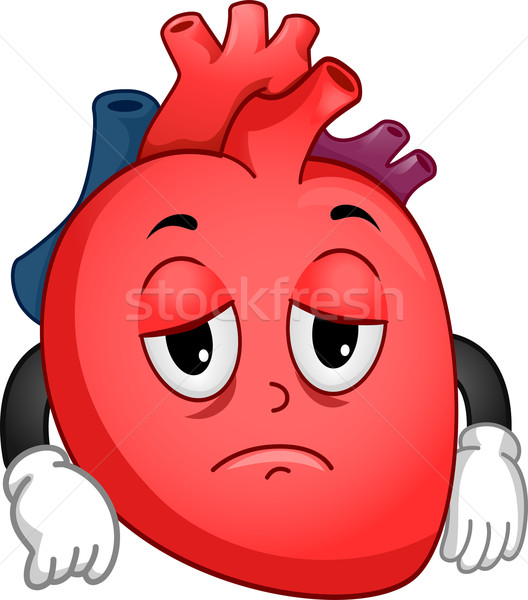 Debole cuore mascotte illustrazione triste Foto d'archivio © lenm