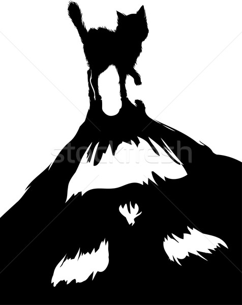 Monstre chat illustration noir ombre Photo stock © lenm
