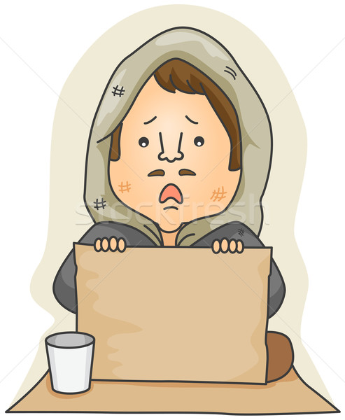 Mendigo conselho ajudar sem casa desenho animado Foto stock © lenm