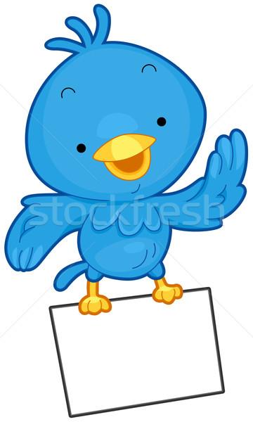 Stockfoto: Vogel · bericht · weinig · Blauw · vliegen · vel