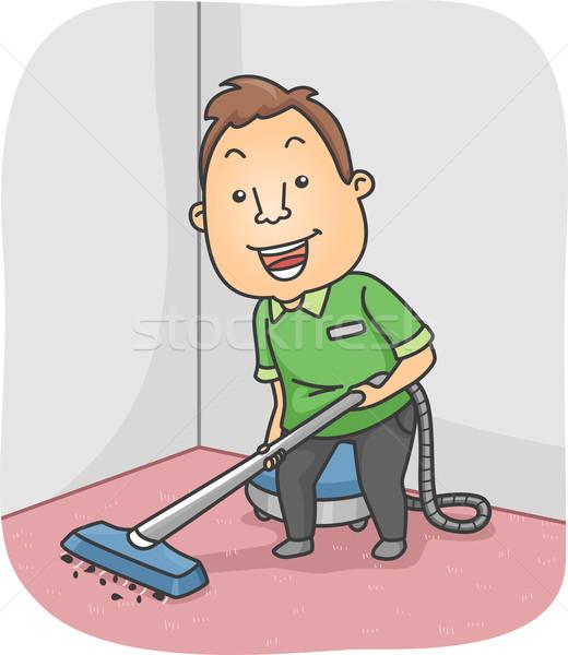 Tapete limpador ilustração homem limpeza masculino Foto stock © lenm