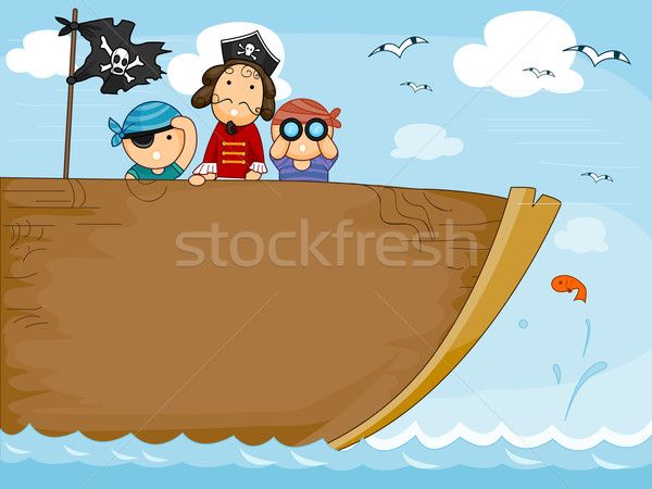 Stockfoto: Piraat · schip · ontwerp · oceaan · behang · cartoon