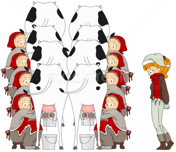 12 natal ilustração mulher assistindo oito Foto stock © lenm