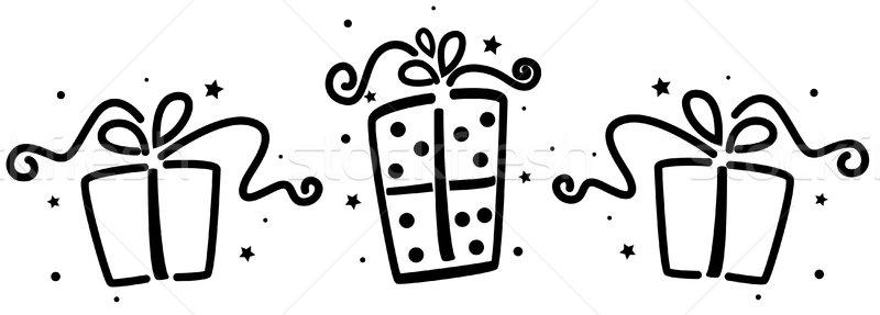 Geschenk stencil geschenken zwarte cartoon presenteert Stockfoto © lenm