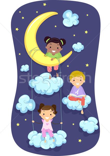 Gyerekek éjszaka illusztráció pizsama felhők csillagok Stock fotó © lenm