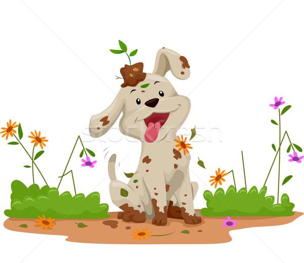 Jardin chien fleurs gâchis illustration cute Photo stock © lenm