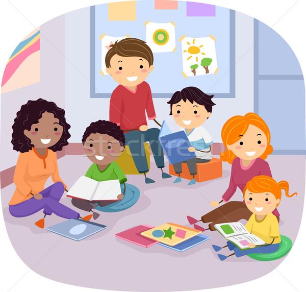Stickman Family Kids Books Stock photo © lenm