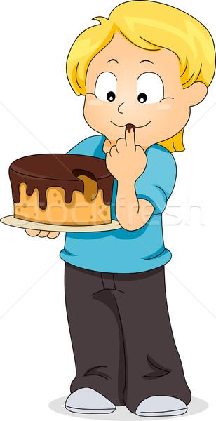 Kid Verkostung Kuchen Illustration Junge Kind Stock foto © lenm