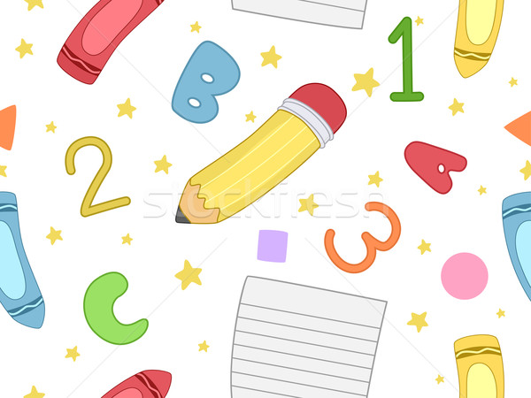 Stock photo: Preschool Seamless Background