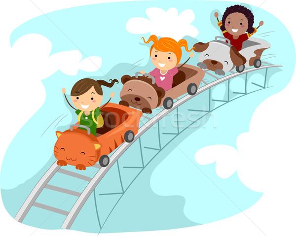 Montanha-russa ilustração crianças equitação criança criança Foto stock © lenm