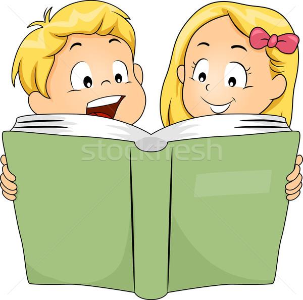 Broers en zussen lezing boek illustratie samen meisje Stockfoto © lenm