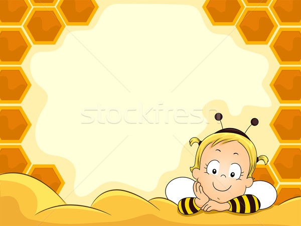 Baby Girl in Beehive Frame Stock photo © lenm