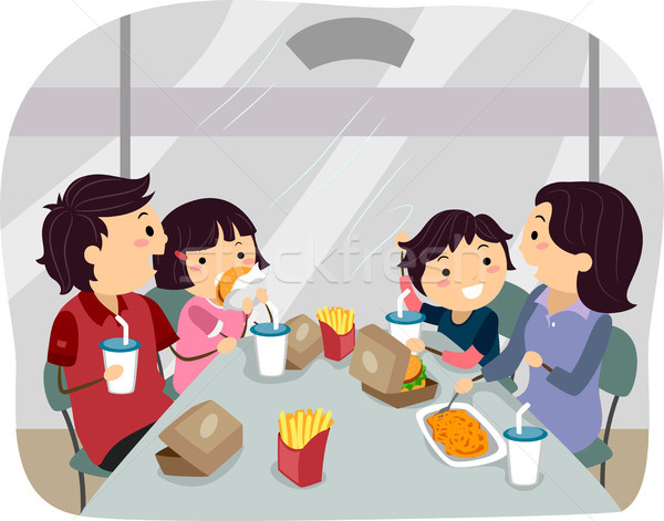 Family dining in a Fastfood Stock photo © lenm