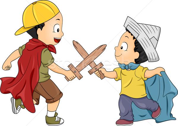 мало мальчики играет Knight иллюстрация Сток-фото © lenm