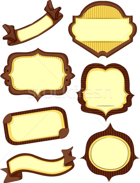 Bolt termék címkék illusztráció barna citromsárga Stock fotó © lenm