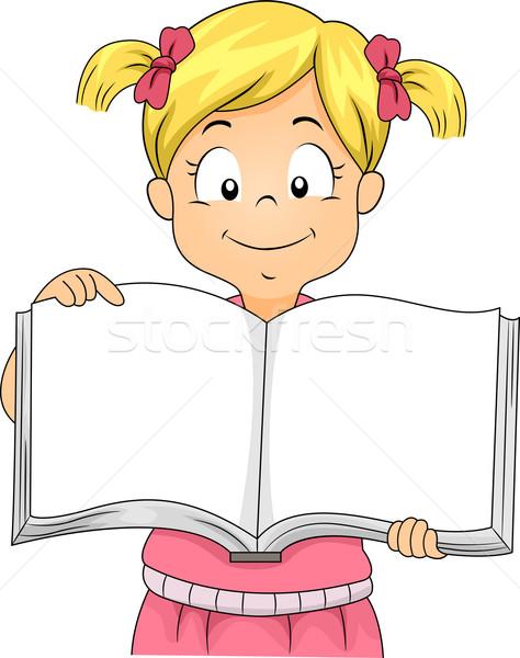 Kicsi gyerek lány nyitva könyv illusztráció Stock fotó © lenm