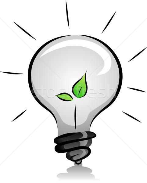電球 苗 実例 黒白 緑 色 ストックフォト © lenm