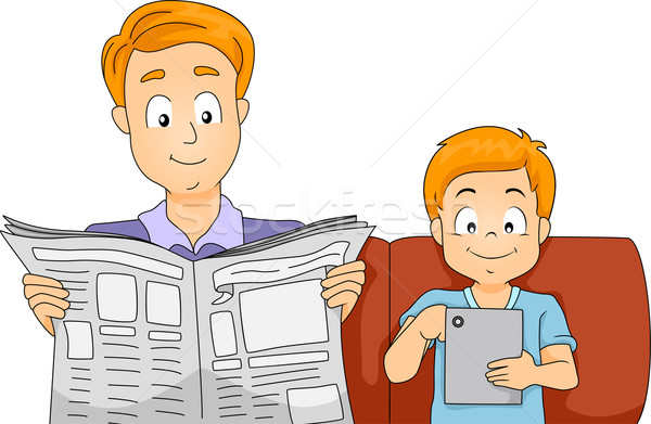 Father and Son Reading the News Stock photo © lenm