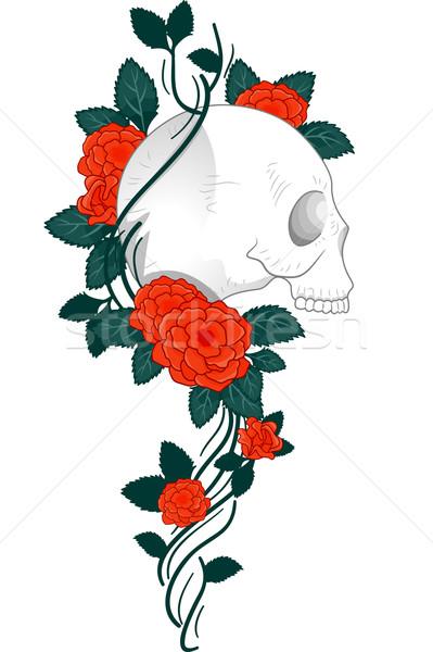 ストックフォト: 頭蓋骨 · 入れ墨 · バラ · 実例 · デザイン · ブドウ