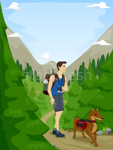 Dog and Man Hiking Stock photo © lenm
