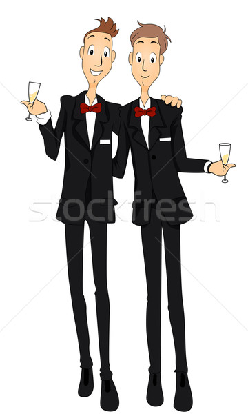 Matrimonio gay champagne cartoon celebrazione toast Foto d'archivio © lenm