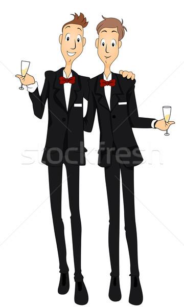 Homohuwelijk champagne cartoon viering toast Stockfoto © lenm