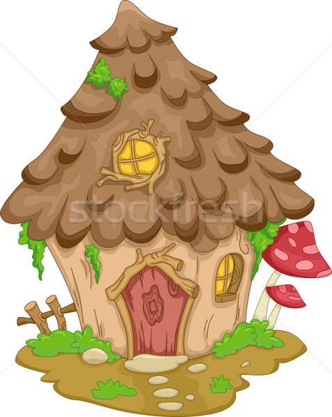 Gnome casa illustrazione cute foresta home Foto d'archivio © lenm