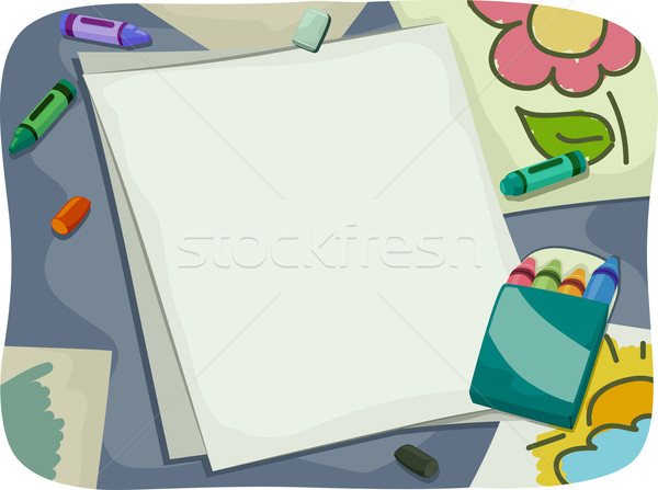 Crayons Blank Paper Stock photo © lenm