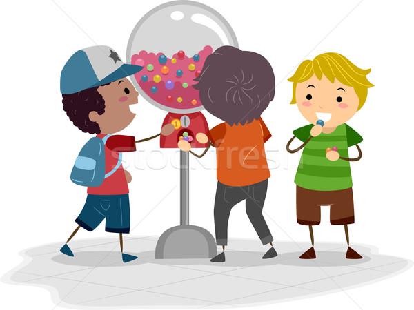 торговый автомат иллюстрация дети ребенка мальчика Kid Сток-фото © lenm
