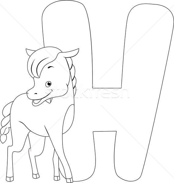 Coloring Page Horse Stock photo © lenm